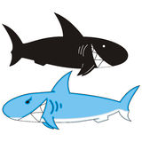 Sharks. Two grinned cartoon sharks black and blue Royalty Free Stock Photography