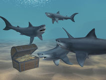 Sharks. Floating above a box with treasures Stock Image