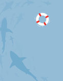 Sharks. An illustration of sharks swimming below a life-ring Royalty Free Stock Image