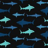 Sharks on black background. Seamless pattern. Vector background Royalty Free Stock Photos