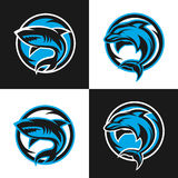 Sharks and dolphins sports logos. Logos sharks and dolphins on a dark or light background Stock Image