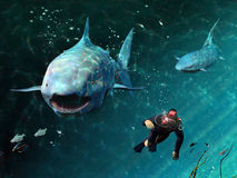 Sharks menace. Two sharks approach a diver in a threatening way Royalty Free Stock Photos
