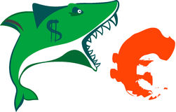 The sharks mouth holds euro sign on isolated vecto. The cartoon dollar sharks mouth holds sign euro Stock Photos