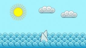 Sharks in the ocean (cartoon) stock video footage