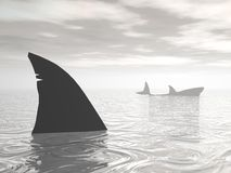 Sharks in the ocean - 3D render Royalty Free Stock Images