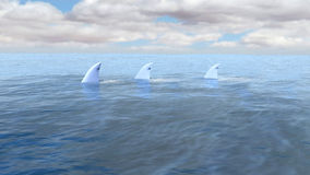 Sharks in Ocean, Sea Illustration Royalty Free Stock Images