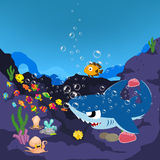 Sharks and oceanic. Sharks and fish oceanic background vector illustration
