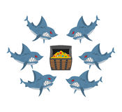 Sharks and prey. Chest of gold and an angry fish. Vector illustr Stock Photography