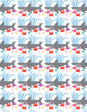 Sharks Fish Crabs Shells Waves Pattern Stock Photos