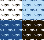 Sharks seamless pattern. Black, white and blue. Sharks seamless pattern. Horizontal rows of the floating shark silhouettes on different backgrounds. Black stock illustration