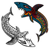 Sharks. Shark in graphic style. Color or black and white illustration. Design element Stock Image