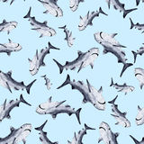 Sharks silhouettes seamless pattern Stock Photography