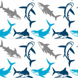 Sharks silhouettes seamless pattern. Elegant seamless pattern with abstract shark symbols, design elements. Can be used for invitations, greeting cards stock illustration
