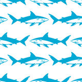 Sharks silhouettes seamless pattern. Isolated blue on white Background. Vector illustration vector illustration