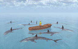Sharks surround a man in a boat. Computer generated 3D illustration with a group of great white sharks surround a man in a boat Stock Photography