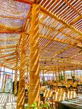 Sharm El谢赫,埃及- 2017年9月25日:室外餐馆和海滩在豪华旅馆, Sharm El谢赫,埃及 库存图片