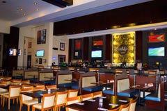 Sharm El谢赫,埃及- 2017年4月13日:Sharm硬石餐厅内部在埃及 免版税库存图片