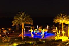 Sharm El谢赫,埃及- 2017年4月7日:豪华旅馆的晚上视图在晚上 库存照片