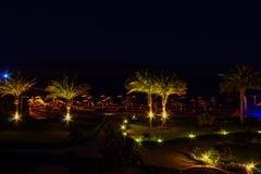 Sharm El谢赫,埃及- 2017年4月7日:豪华旅馆的晚上视图在晚上 图库摄影