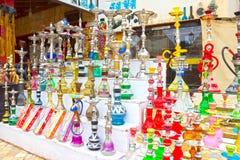 Sharm El谢赫,埃及- 2017年4月13日:水烟筒在礼品店 图库摄影