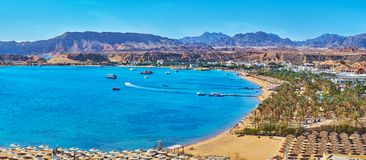Panorama of El Maya bay beaches, Sharm El Sheikh, Egypt. Sharm El Maya is one of the central districts of resort, that boasts scenic rocky landscape and stock photo