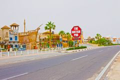 Sharm El Sheikh - 12-ое апреля 2017: Великобританский паб вне фронта без людей Стоковое Фото