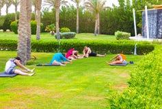 Sharm el Sheikh - 14 aprile 2017: Turisti sull'yoga di animazione all'hotel 5 di Barcelo Tiran Sharm Immagine Stock