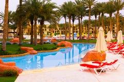 Sharm El Sheikh Egipt, Kwiecień, - 13, 2017: Luksusowy pięć gwiazd hotel RIXOS SEAGATE SZARM Zdjęcie Stock