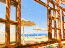 Sharm El Sheikh Egipt, Wrzesień, - 25, 2017: Plenerowa restauracja i plaża przy luksusowym hotelem, sharm el sheikh, Egipt Obrazy Stock