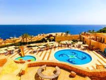 Sharm El Sheikh Egipt, Wrzesień, - 22, 2017: Widok luksusowy hotel Marzy miejscowość nadmorską Szarm przy dniem z błękitem 5 gwia Fotografia Stock
