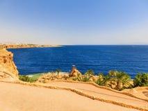 Sharm El Sheikh Egipt, Wrzesień, - 22, 2017: Widok luksusowy hotel Marzy miejscowość nadmorską Szarm przy dniem z błękitem 5 gwia Obraz Royalty Free