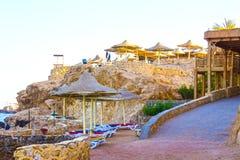 Sharm El Sheikh Egipt, Wrzesień, - 25, 2017: Widok luksusowy hotel Marzy miejscowość nadmorską Szarm przy dniem z błękitem 5 gwia Obrazy Stock