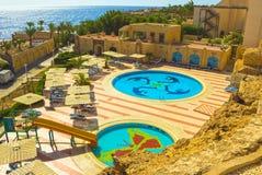Sharm El Sheikh Egipt, Wrzesień, - 24, 2017: Widok luksusowy hotel Marzy miejscowość nadmorską Szarm przy dniem z błękitem 5 gwia Zdjęcia Royalty Free