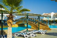 Sharm El Sheikh Egipt, Wrzesień, - 25, 2017: Widok luksusowy hotel Marzy miejscowość nadmorską Szarm przy dniem z błękitem 5 gwia Obraz Stock