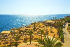 Sharm El Sheikh Egipt, Wrzesień, - 24, 2017: Widok luksusowy hotel Marzy miejscowość nadmorską Szarm przy dniem z błękitem 5 gwia Fotografia Stock