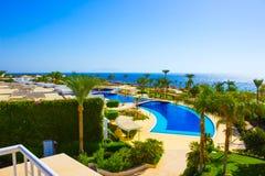 Sharm El Sheikh Egipt, Wrzesień, - 26, 2017: Budynki i terenu Montera Carlo kurortu Hotelowy sharm el sheikh Obraz Royalty Free
