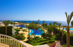 Sharm El Sheikh Egipt, Wrzesień, - 26, 2017: Budynki i terenu Montera Carlo kurortu Hotelowy sharm el sheikh Obrazy Royalty Free