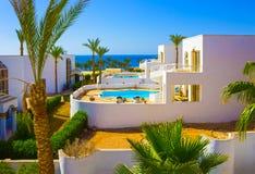 Sharm El Sheikh Egipt, Wrzesień, - 26, 2017: Budynki i terenu Montera Carlo kurortu Hotelowy sharm el sheikh Fotografia Royalty Free
