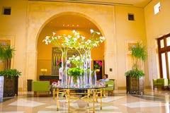 Sharm el Sheikh, Egipto - 11 de abril de 2017: El lobbi en el hotel cuatro Sharm el Sheikh del centro turístico de las estaciones Imágenes de archivo libres de regalías