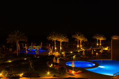 Sharm El Sheikh, Egypt - April 7, 2017: Evening view of swimming pool at luxury hotel Barcelo Tiran Sharm 5 stars at Stock Images