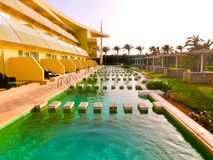 Sharm El Sheikh, Egypt - April 9, 2017: The view of luxury hotel Barcelo Tiran Sharm 5 stars at day with blue sky Stock Photography