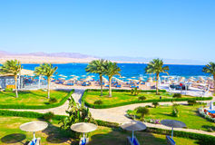 Sharm El Sheikh, Egypt - April 8, 2017: The view of luxury hotel Barcelo Tiran Sharm 5 stars at day with blue sky Royalty Free Stock Photos