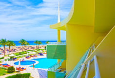 Sharm El Sheikh, Egypt - April 8, 2017: The view of luxury hotel Barcelo Tiran Sharm 5 stars at day with blue sky. At Sharm El Sheikh, Egypt on April 8, 2017 Stock Image