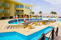 Sharm El Sheikh, Egypt - April 8, 2017: The view of luxury hotel Barcelo Tiran Sharm 5 stars at day with blue sky. At Sharm El Sheikh, Egypt on April 8, 2017 Stock Photography