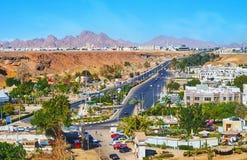 El Salam road in Sharm El Sheikh, Egypt. SHARM EL SHEIKH, EGYPT - DECEMBER 15, 2017: Aerial view of the El Salam road in Sharm El Maya district, stretching among Stock Photos