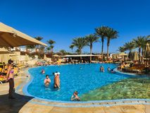 Sharm El Sheikh, Egypt - December 31, 2018: Tropical luxury Xperience Sea Breeze Resort on Red Sea beach. Sharm El Sheikh, Egypt - December 31, 2018: The royalty free stock photography