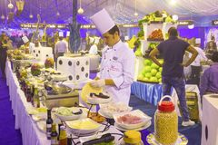 Sharm El Sheikh, Egypt - December 31, 2018: Egyptian cook standing at hotel restaurant royalty free stock images