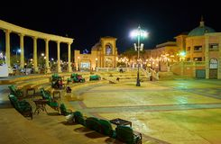 Evening attractions in Il Mercato square, Sharm El Sheikh, Egypt. SHARM EL SHEIKH, EGYPT- DECEMBER 15, 2017: In the evening Il Mercato shopping square becomes Stock Images