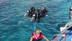 Sharm el-Sheikh, Egypt - December 6, 2016: snorkeling swim in the Red Sea. Sharm el-Sheikh, Egypt - December 6, 2016: snorkeling swim and snorkel in the Red Sea stock video footage