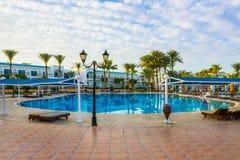 Sharm El Sheikh, Egypt - January 05, 2019: Tropical luxury Sultan Gardens Resort on Red Sea beach. Sharm El Sheikh, Egypt - January 05, 2019: Tropical luxury royalty free stock images